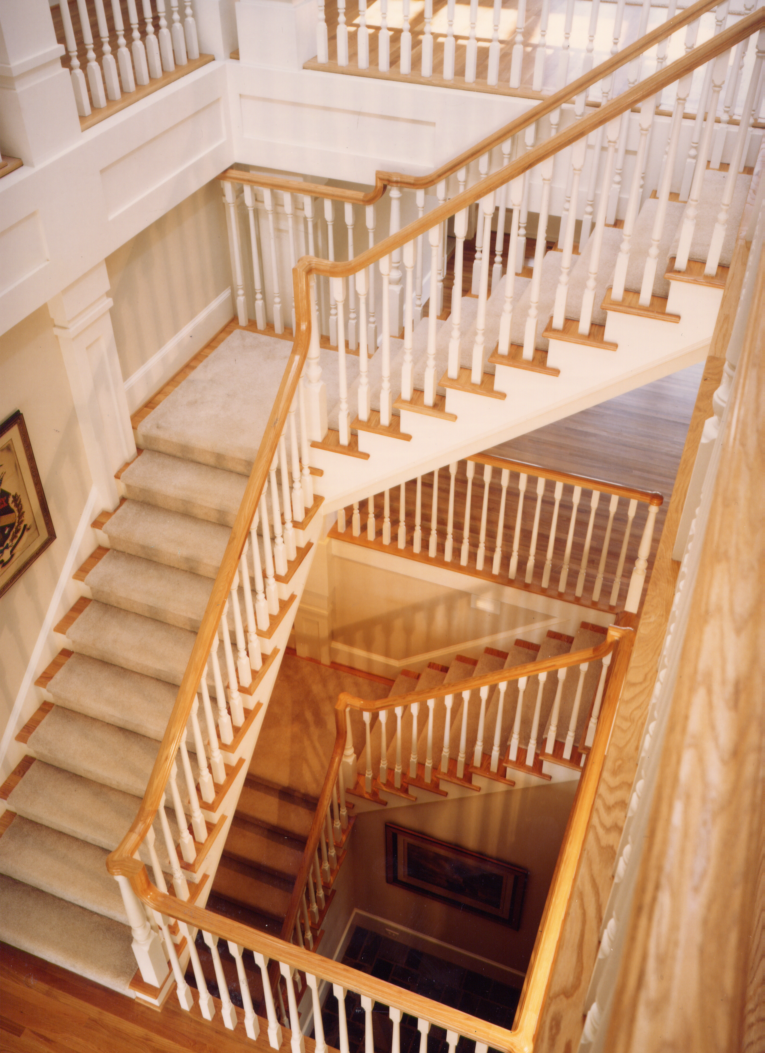 Straight Staircases Wood Glass Metal Artistic Stairs