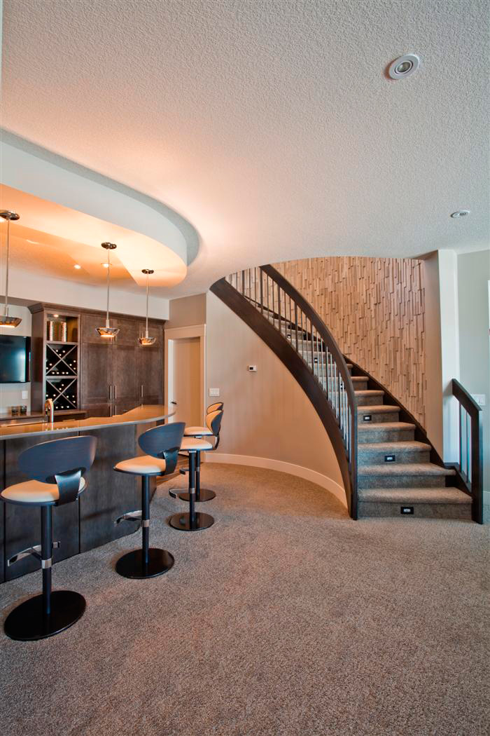Custom Curved Stairs Basement