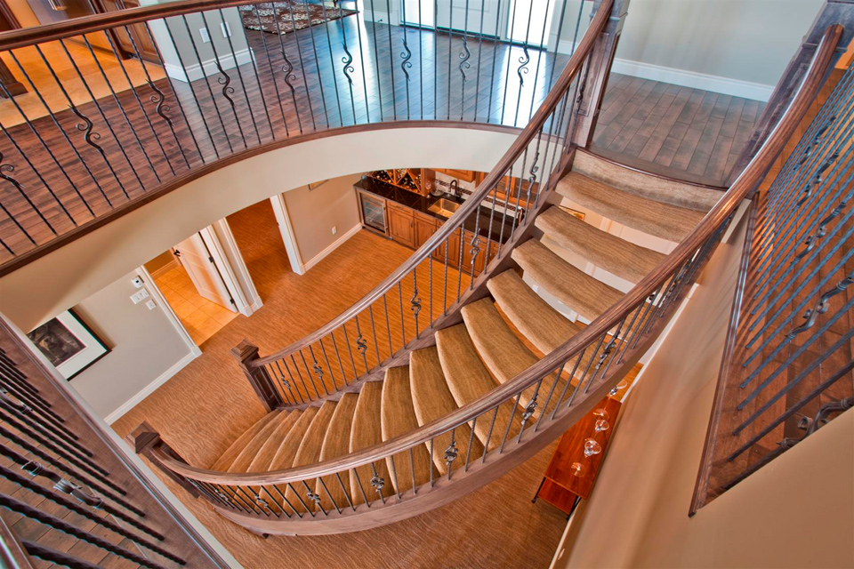 Custom Curved Stairs Aerial View