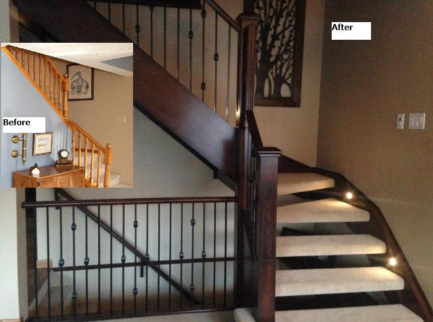 Artistic Stairs Renovation - Open Risers, LED Lights in Stringers, Oxford Series Spindles