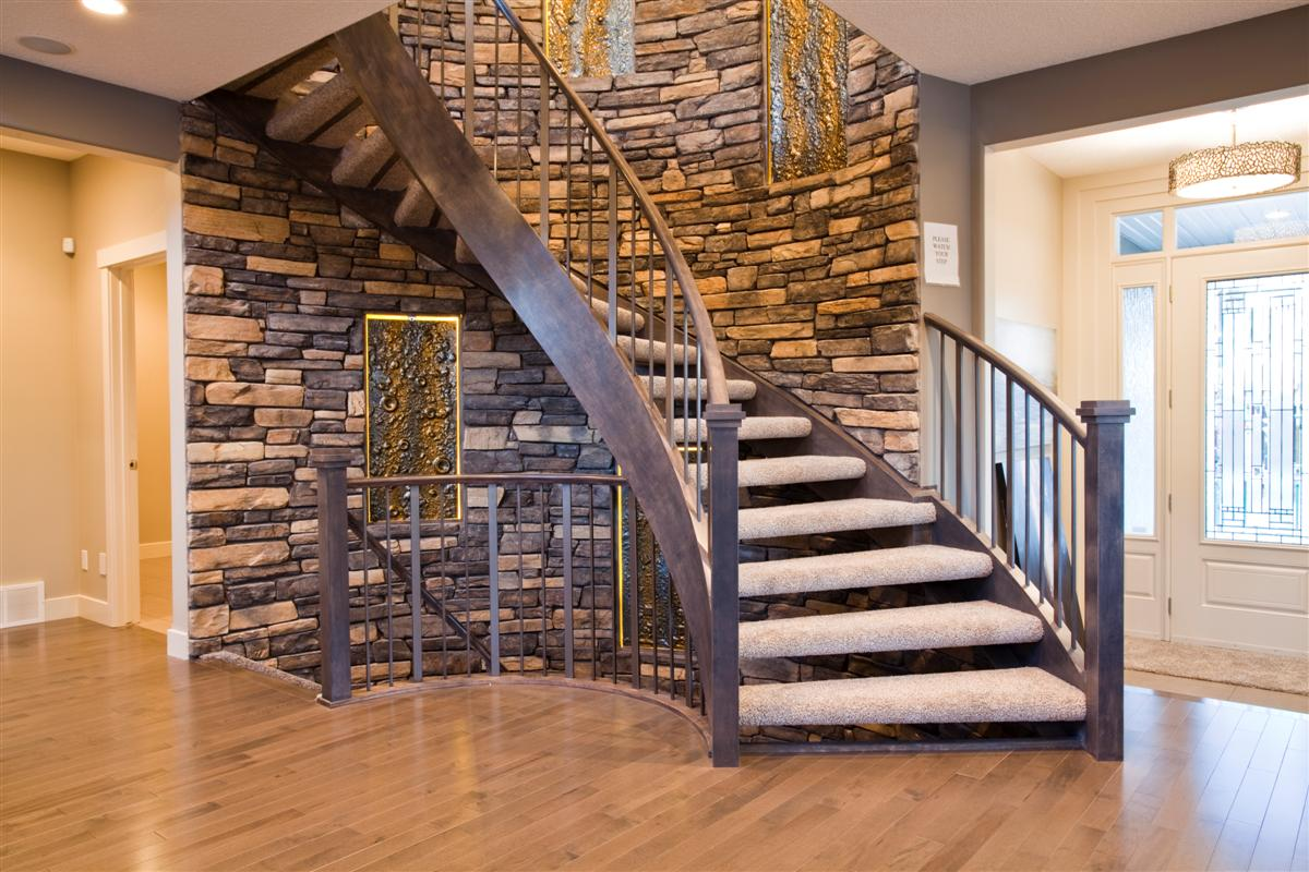 Curved Staircase - Wood And Metal Designs